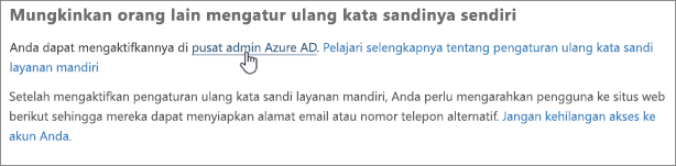 Pilih tautan untuk masuk ke pusat admin Azure.
