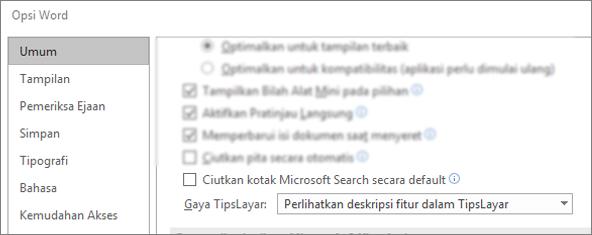 Kotak dialog Opsi > file memperlihatkan runtuhnya kotak pencarian Microsoft secara default.
