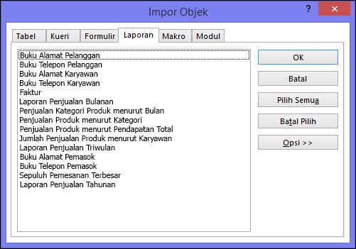 Kotak dialog Impor Objek dalam database Access