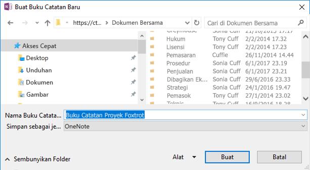 Dialog Buat Buku Catatan Baru di OneNote untuk Windows 2016