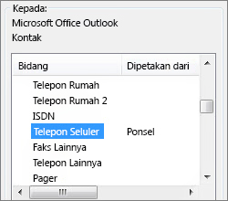 PP sel yang dipetakan ke bidang telepon seluler Outlook