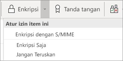 Tombol Enkripsi dan daftar menurun berisi opsi yang terkait