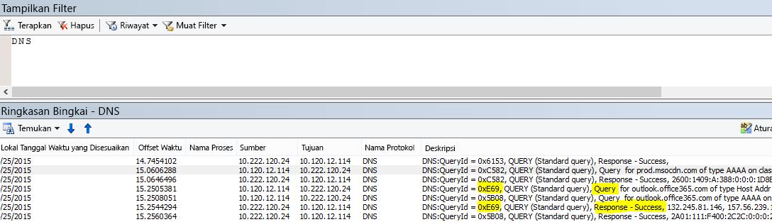 Filter dasar untuk DNS di Netmon adalah DNS.