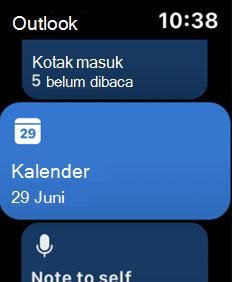 Memperlihatkan layar Apple Watch