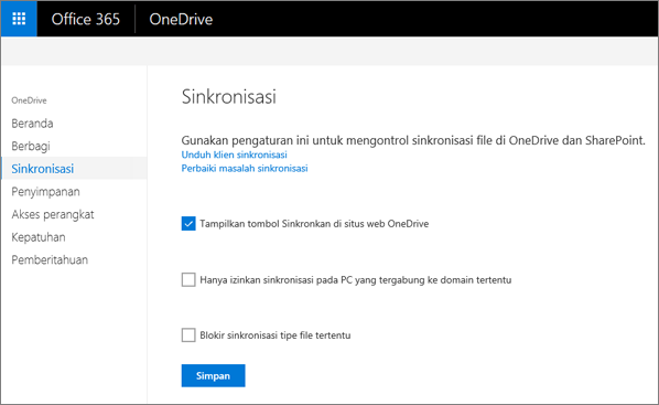 Tab sinkronisasi pusat admin OneDrive