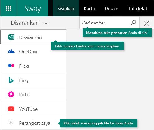 Menyisipkan menu dan kotak pencarian konten