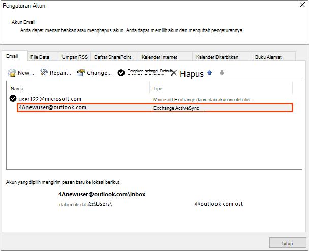 Pengaturan Akun Outlook, Akun Email