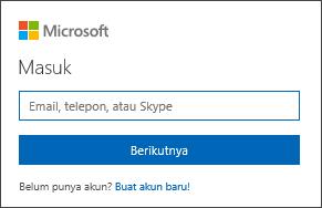 Cuplikan layar halaman Masuk akun Microsoft