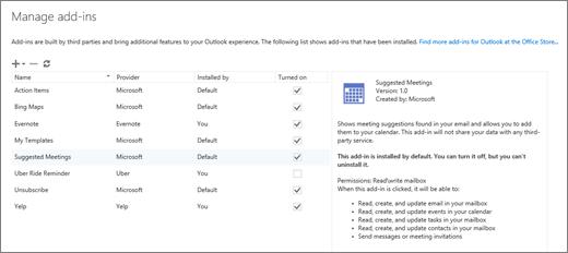 """Cuplikan layar jendela """"Kelola add-in"""" tempat Anda dapat menambahkan atau menghapus add-in, menampilkan informasi tentang add-in, dan masuk ke Bursa Office untuk menemukan lebih banyak add-in untuk Outlook. Add-in Suggested Meetings dipilih, dan informasi tentangnya ditampilkan."""