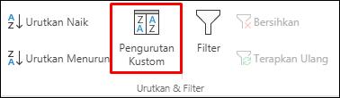 Opsi Urut Kustom Excel dari tab Data