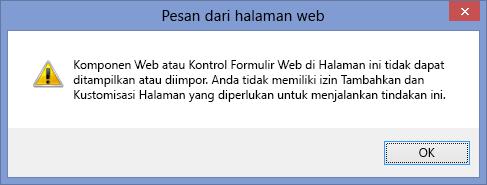 Pesan kesalahan ditampilkan saat scripting dinonaktifkan pada situs atau kumpulan situs