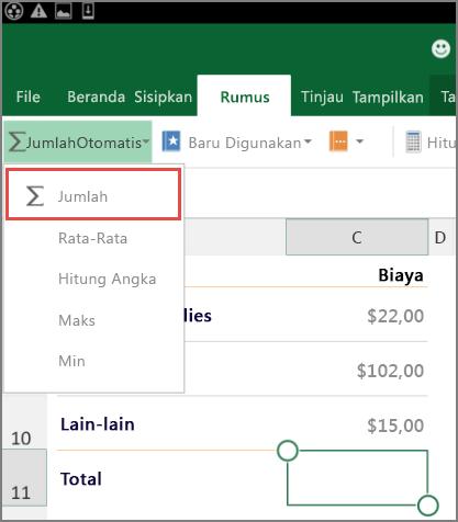 Menu akses Pita Excel untuk Android