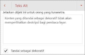 Tandai sebagai dekoratif dipilih dalam dialog teks Alt di PowerPoint untuk Android.