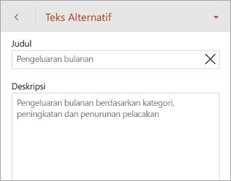 Perintah Teks Alt pada tab Tabel