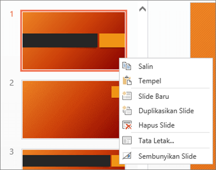 Menu klik kanan slide