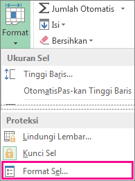 Pada tab Beranda, tombol Format, dan tombol Format Sel pada menu