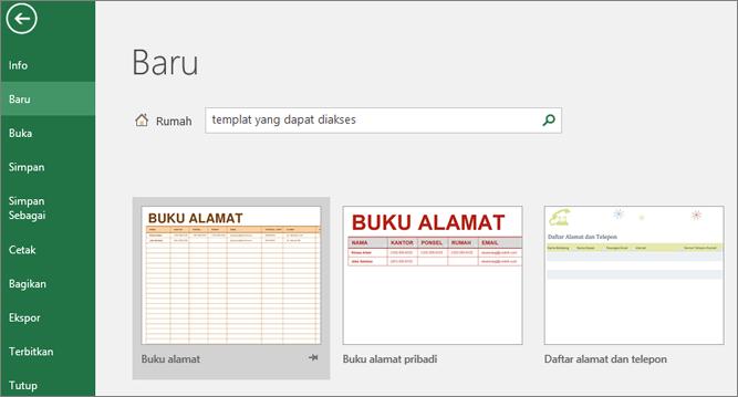 Klip layar kotak pencarian memperlihatkan antarmuka pengguna Excel terisi dengan Templat yang bisa diakses entri dan hasil pencarian Templat dapat diakses.