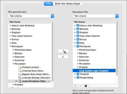 Klik Lacak perubahan (warisan) dan klik > untuk memindahkan opsi di bawah tab Tinjau