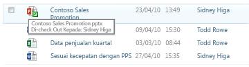 ToolTip yang muncul di bawah ikon file Check-Out. Memungkinkan pengguna mengetahui nama file dan yang telah dicek keluar.