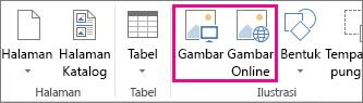 Cuplikan layar opsi Sisipkan Gambar pada menu Sisipkan di Publisher.
