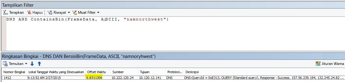"Hasil Netmon tambahan difilter dengan DNS DAN CONTAINSBIN(Framedata, ASCII, ""namnorthwest"") memperlihatkan Offset Waktu yang sangat rendah antara permintaan dan respons."