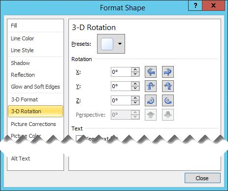 Opsi rotasi 3D dalam kotak dialog Format bentuk