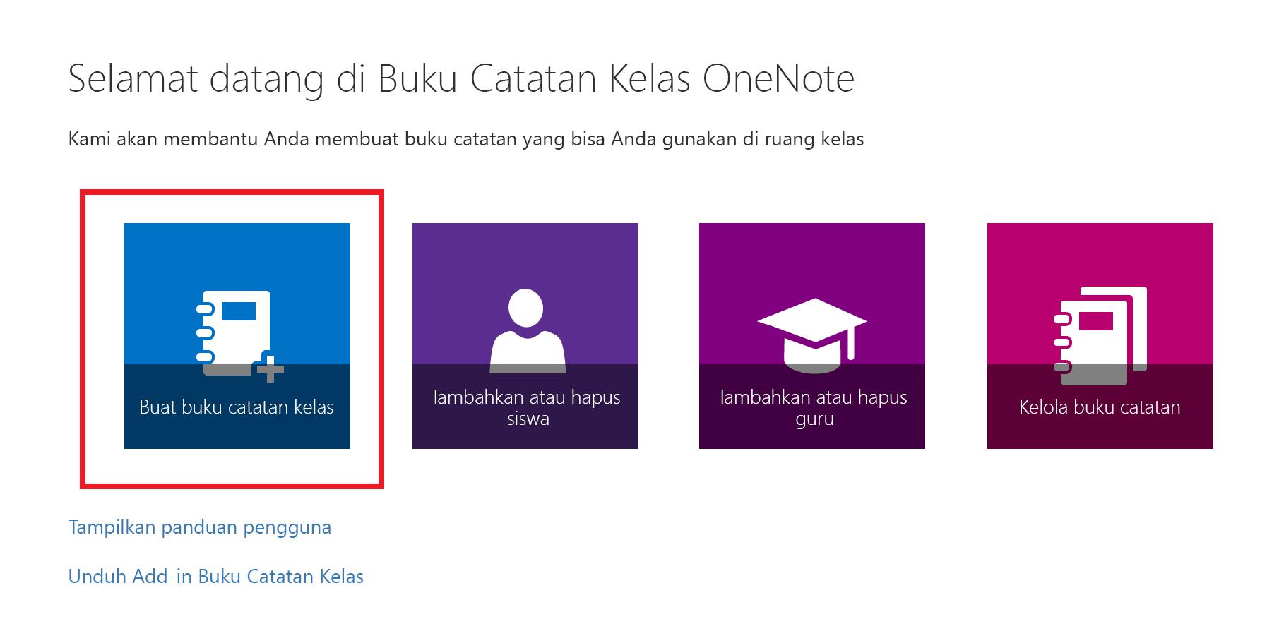 Cuplikan layar halaman selamat datang aplikasi Buku Catatan Kelas.
