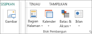 Cuplikan layar grup Blok Penyusun pada tab Sisipkan di Publsiher.