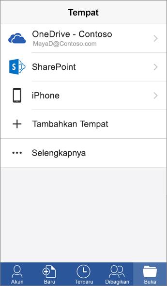 Cuplikan layar dari layar Tempat di aplikasi seluler Word.
