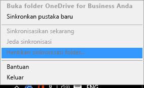 Tangkapan layar dari Perintah hentikan sinkronisasi folder saat mengklik kanan klien sinkronisasi OneDrive for Business
