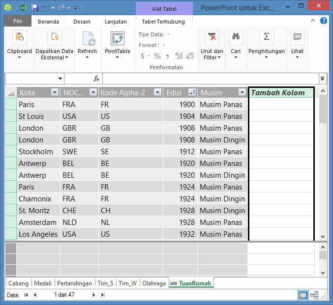 Menggunakan Tambahkan Kolom untuk membuat bidang terhitung menggunakan DAX
