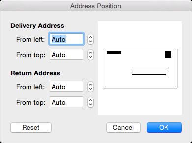 Di Posisi Alamat, Anda bisa mengubah jarak pengiriman dan alamat pengembalian dari tepi amplop.