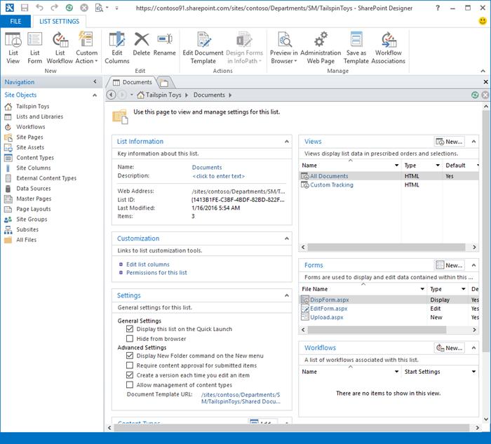 Gambar halaman depan SharePoint Designer 2013.