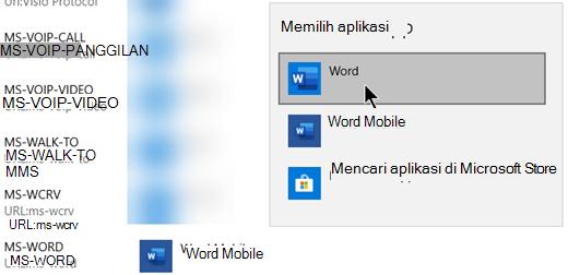 Beralih ke Office (desktop) untuk protokol yang membuka templat dari web