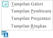 Cuplikan layar tampilan rapat yang tersedia dengan Tampilan Galeri dipilih