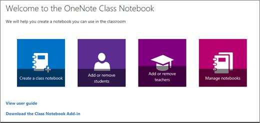 OneNote Class Notebook panduan dengan ikon untuk membuat buku catatan kelas, tambahkan atau Hapus siswa, guru Tambahkan atau Hapus, dan mengelola buku catatan.