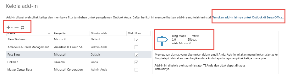 Mengelola Add-in di Outlook