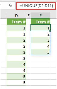 Contoh fungsi UNIQUE: =UNIQUE(D2:D11)