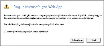 Lync Web Acces--selalu mempercayai plug-in domain, atau Perbolehkan untuk sesi ini