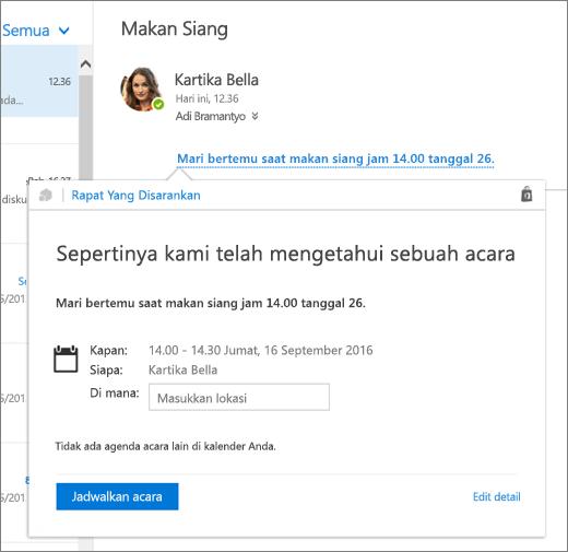 Cuplikan layar pesan email dengan teks tentang rapat dan kartu Suggested Meetings dengan detail rapat dan opsi untuk menjadwalkan acara dan mengedit detailnya.