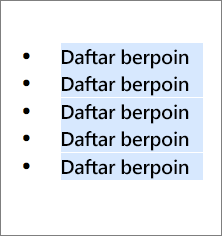 Contoh daftar berpoin dengan lingkaran hitam bulat sebagai poin.