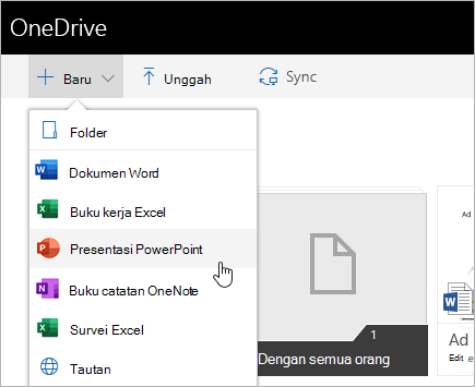 Membuat file di OneDrive for Business