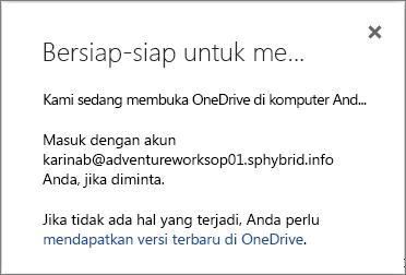 Cuplikan layar kotak dialog Bersiap untuk menyinkronkan ketika menyiapkan OneDrive for Business untuk disinkronkan