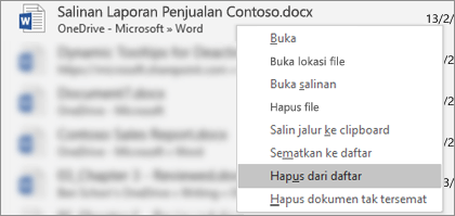 Menu konteks yang terlihat saat file diklik kanan dalam daftar File Terbaru