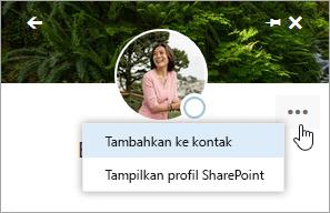 Cuplikan layar kursor mengarah pada Tambahkan ke kontak di menu Tindakan lainnya.