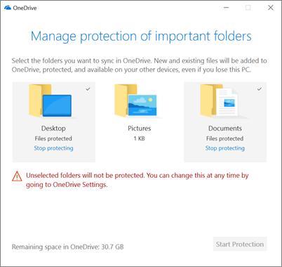 Cuplikan layar Kelola proteksi kotak dialog penting folder di OneDrive