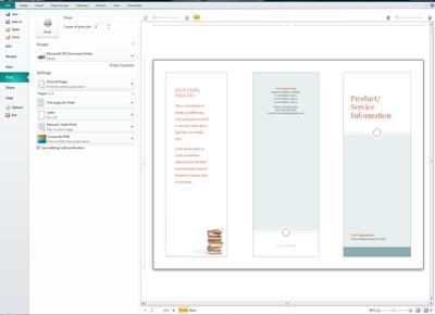 Gambaran umum pengaturan cetak Publisher