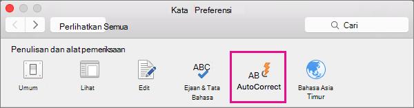 Di Preferensi Word, klik KoreksiOtomatis untuk mengubah apa yang diubah KoreksiOtomatis di dokumen Anda.