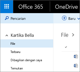 Cuplikan layar tampilan File di OneDrive for Business