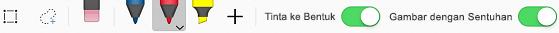 Alat tinta dasar pada tab gambar untuk aplikasi iOS Office